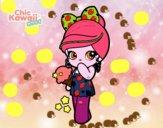 Menina kawaii com sorvete