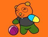 Desenho Panda com bola pintado por erca
