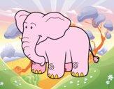 Desenho Um elefante Africano pintado por Atchim