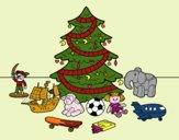 Desenho Árvore de Natal e brinquedos pintado por yasmimramo