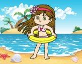 Menina com flutuador