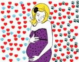 Mulher gravida feliz
