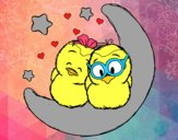 Desenho Pássaros do amor pintado por PriRafaela