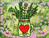 Pote com flores silvestres e um coração