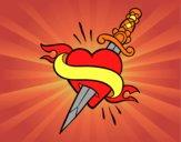 Tatuagem de coração e punhal