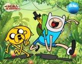 Desenho Finn e Jake pintado por NarutoBR