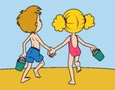 Desenho A menina eo menino na praia pintado por Gisla