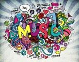 Desenho Colagem musical pintado por JCalsolari