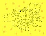 Desenho Dragão chinês pintado por Taiza