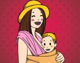 Mãe com o portador de bebê