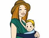 Desenho Mãe com o portador de bebê pintado por Gisla