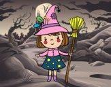 Menina bruxa do Halloween