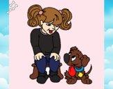 Desenho Menina com o seu cãozito pintado por JamillyPG