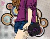 Desenho Menina com saco pintado por JamillyPG