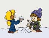 Desenho Meninas que jogam com neve pintado por Gisla