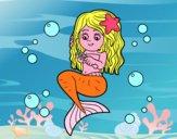Desenho Sereia que penteia seu cabelo pintado por Taiza