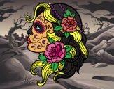 Desenho Tatuagem de Catrina pintado por JCalsolari
