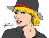 Desenho Taylor Swift com chapéu pintado por vasquez9