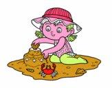 Uma menina que joga na praia