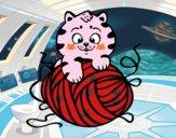 Desenho Gato com un novelo de lã pintado por luzinda