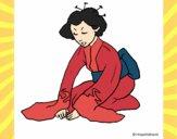 Desenho Geisha a saudar pintado por Gisla