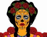 Desenho Mulher caveira mexicana pintado por Silma