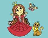 Desenho  Princesa com o gato e borboleta pintado por Clarice1
