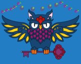 Desenho Tatuagem de coruja com chave pintado por luzinda