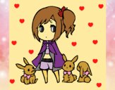 Menina com coelhinhos