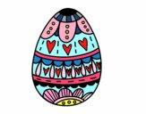 Desenho Ovo da páscoa com corações pintado por Nayelly