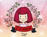 Desenho I love mom pintado por luzinda