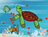 Tartaruga de mar com peixes