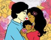 Desenho Família abraço pintado por AndressaBR