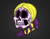 Desenho Caveira mexicana com trança pintado por yasminloi2