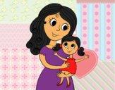 Desenho Mãe com sua filha pintado por luzinda