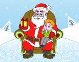 Desenho Papai Noel e da criança do Natal pintado por heikroni