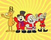 Desenho Papai Noel e seus amigos pintado por Dalvamgcs