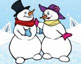 Par de bonecos de neve