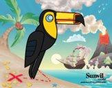 Desenho Pássaro Tucano pintado por Isadoran