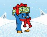 Desenho Pinguim com presente de Natal pintado por heikroni