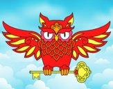 Desenho Tatuagem de coruja com chave pintado por Crazymiana