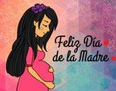 Desenho Mamã grávida no Dia da Mãe pintado por luzinda