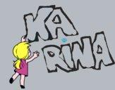 Desenho Menina escrevendo pintado por karinabrag