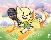 Desenho Gato tennis pintado por Springtrap