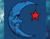 Desenho Lua e estrela pintado por ceciliaz