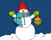 Desenho A neve do Natal do boneco de neve pintado por leonor2013