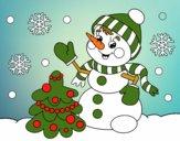 Desenho Boneco de neve do cartão de Natal pintado por leonor2013