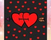 Dois corações com uma seta