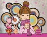 Desenho Menina com lenço e xícara de chá pintado por Lari_583