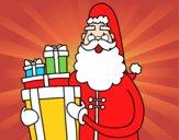 Desenho Santa Claus com presentes pintado por leonor2013